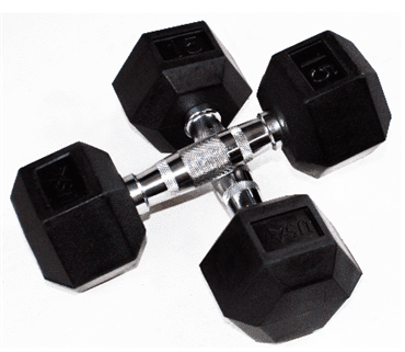 USAOlym Solid 6 Sided Rubber Hex Dumbbell