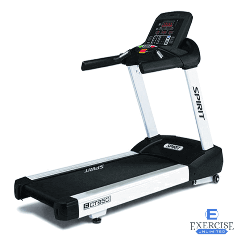 """There are several keys areas that define a well designed treadmill. All Spirit Fitness models offer comfortable belts and cushioning systems, convenient storage and adjustments, generous features and programs, and eye catching aesthetics. Select the design elements you desire to create a product that will retain its value for years to come. Designed to withstand the rigors of a commercial fitness environment, the CT850 features a heavy-duty steel frame, a durable powder coat finish and large steel console masts for ultimate stability and durability. The cool running, brushless 4.0 Horse Power AC Drive motor adds to the reliability of the CT850 treadmill while providing the torque and smooth continuous power required by the unique needs of its users. Tablet friendly reading rack holder, convenient water bottle holder, and cargo compartment for keys, phone, or MP3 player. KEY FEATURES Motor This unit comes equipped with a brushless, 4.0 hp continuous duty AC motor with Grade H insulation. Deck We use a 1"""" reversible, dual sided, Phenolic wax deck; this deck is maintenance free (other than monthly cleaning) and can be flipped for extra long life. Belt A durable Multi-ply Habasit® belt is included for comfort and long life. Rollers 3"""" diameter rollers are a standard specification on the heavy duty frame. C-Safe Power & Communication The console has C-Safe Power & Communication capabilities for A/V control and virtual racing interaction with WebRacing® software."""